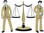 The Scales of Justice with a man standing on either side