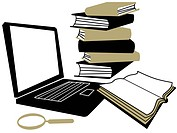 A laptop computer, a magnifying glass and a stack of books