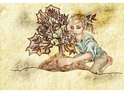A woman planting a small tree