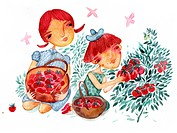 Two girls picking strawberries