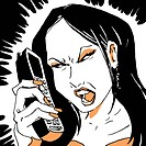 An angry woman yelling into a telephone