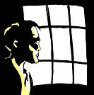 A worried man looking out a window (thumbnail)