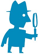 Man holding large magnifying glass (thumbnail)
