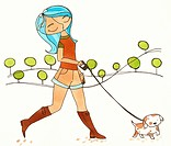 A woman walking her dog (thumbnail)