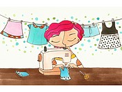 A woman making clothes on a sewing machine (thumbnail)
