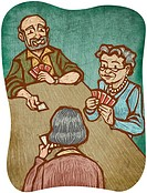 Three senior citizens playing cards