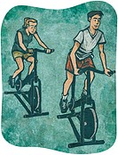 A man and a woman on exercise bikes