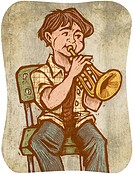 A boy playing a trumpet