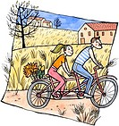 A couple on a tandem bicycle with autumn leaves and corn in a basket