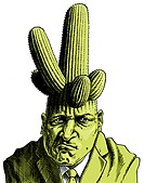Cactus growing on businessmans head (thumbnail)