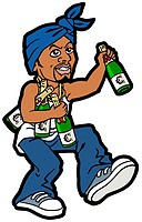 An illustration of a man with numerous bottles of champagne and a blue scarf tied around his head