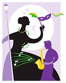 A woman in costume and a musician at Mardi Gras