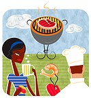 An illustration of a chef and a woman enjoying a summer barbecue