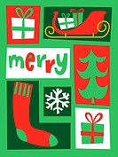 A green red and white colored collection of Christmas based images with the caption Merry