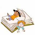 Two children playing happily in the pages of a large book