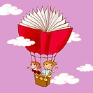 Two young children drifting in a book shaped hot air balloon