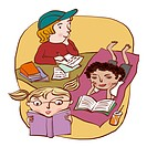 A group of three children reading and writing happily