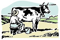 A man milking a cow in a field