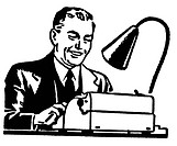 A black and white version of graphic illustration of a business man working hard at a typewriter