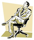 A graphic illustration of a businessman looking perplexed in his office chair