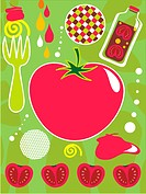 An illustration about tomatoes and ketchup (thumbnail)