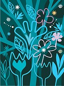 A whimsical illustration of flowers and trees (thumbnail)
