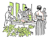 A vintage illustration of a group enjoying a buffet
