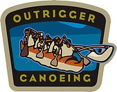 A group of people outrigger canoeing and text