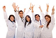 Very happy group of doctors isolated over a white background