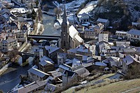 SAINTE CHRISTINE CHURCH AND THE TWO BRIDGES OVER THE ANDER RIVER, LOWER TOWN OF SAINT_FLOUR, CANTAL 15, AUVERGNE, FRANCE