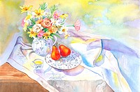 Flower, Watercolor painting of fruits, tea and a vase of flowers on the table