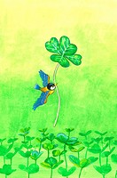 Animal, Watercolor painting of a bird flying with a leaf