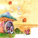 Animal, Watercolor painting of doves flying above a hut (thumbnail)