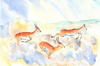 Animal, Watercolor painting of three deer running together