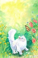 Insects, Animal, Watercolor painting of a cat looking at a butterfly