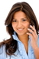 casual woman on the phone _ isolated over a white background