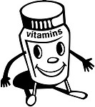 A container of vitamins with a smiley face and limbs
