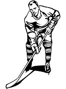 A hockey player holding a hockey stick
