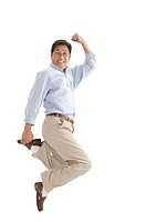 Husband, Man jumping in mid_air with arms raised and smiling