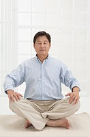 Husband, Man making lotus position with eyes closed