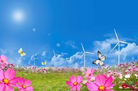 Lohas, Environmental Conservation, Digitally generated image of flower field, butterflies and windmills in the blue sky