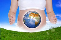 Lohas, Environmental Conservation, Digitally generated image of a pregnant woman with image of earth and grass before her