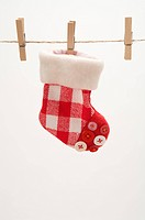 A decoration stock clipped on a clothesline