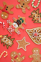 Gingerbread Cookie on red background
