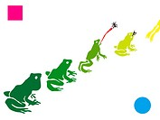 A stencil of frogs in a row