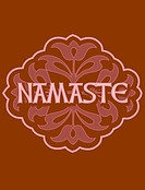 The word Namaste on a brown decorative background