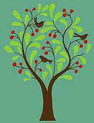 A fruit tree with birds in it on a green background