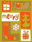 A Christmas collage with the word Merry