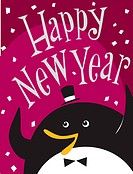 A penguin celebrating and the words Happy New Year