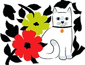 A white cat standing with red, green and black flowers